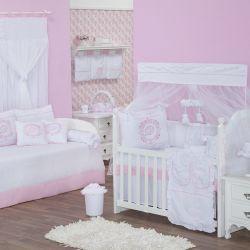 Quarto para Bebê sem Cama Babá Personnalité Rosa com Inicial do Nome Personalizada