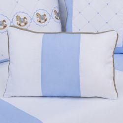 Almofada Retangular Elegance Cavalinho de Balanço Azul 43cm