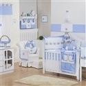 Quarto para Bebê sem Cama Babá Elegance Cavalinho de Balanço Azul