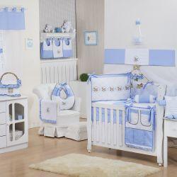 Quarto de Bebê sem Cama Babá Elegance Cavalinho de Balanço Azul