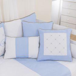 Almofadas Elegance Coroa Azul 3 Peças