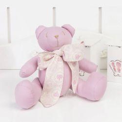 Ursinha Rosé com Laço Coroa Rosa 25cm