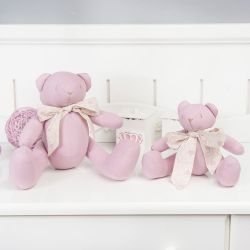 Ursas Rosê com Laço Realeza 19cm e 34cm