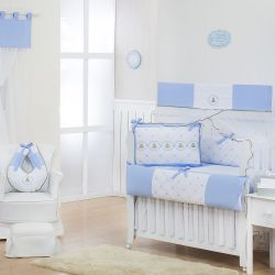 Quarto Econômico de Bebê sem Cama Babá Elegance Teddy Azul