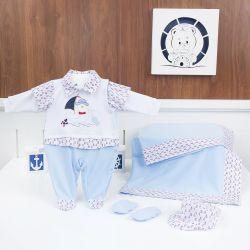Saída Maternidade Barquinho Azul - Tamanho Único
