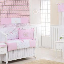 Quarto Econômico de Bebê sem Cama Babá Realeza Luxo Rosa