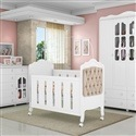 Quarto para Bebê Provence Branco Acetinado com Berço/Cômoda/Guarda Roupas de 4 portas