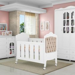 Quarto de Bebê Provence Branco Acetinado com Berço/Cômoda/Guarda Roupa de 4 portas