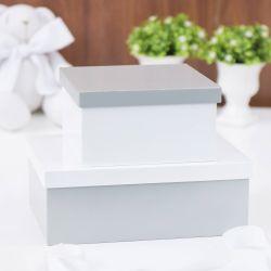 Conjunto de Caixas Organizadoras de Madeira Cinza e Branco