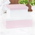 Conjunto de Caixas Organizadoras de Madeira Rosa e Branco