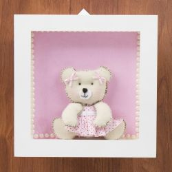 Quadro Nicho Decorativo Ursa Florzinha