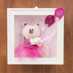 Quadro Nicho Decorativo Ursa Balão Pink