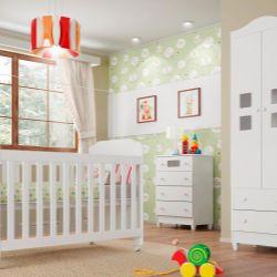 Quarto de Bebê Carol com Berço/Cômoda/Guarda-Roupa de 2 Portas