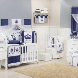 Quarto para Bebê sem Cama Babá Imperial Marinho Listrado