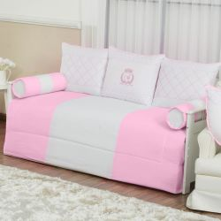 Kit Cama Babá VIP Inicial do Nome Personalizada Rosa