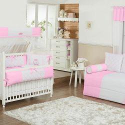 Quarto de Bebê sem Cama Babá VIP Inicial do Nome Personalizada Rosa