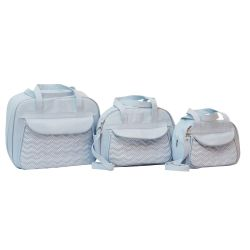 Conjunto de Bolsas Maternidade Chevron Poá Azul
