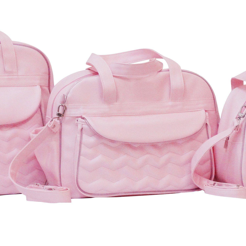 7b3385b72b Bolsa Maternidade Chevron Rosa