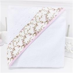 Toalha de Banho Forrada com Capuz Carinha de Anjo Rosa