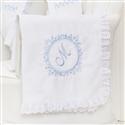Manta Marselle Azul com Inicial do Nome Personalizada