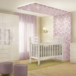 Quarto de Bebê Premium com Berço/Cômoda/Guarda-Roupa de 4 Portas