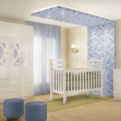Quarto de Bebê Clean com Berço/Cômoda/Guarda-Roupa de 4 Portas