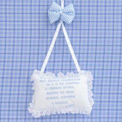 Porta Maternidade Oração Santo Anjo Xadrez Azul