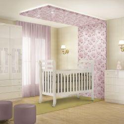 Quarto de Bebê Premium com Berço/Cômoda/Guarda-Roupa de 3 Portas
