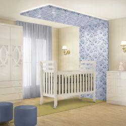 Quarto de Bebê Clean com Berço/Cômoda/Guarda-Roupa de 3 Portas