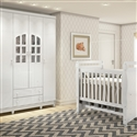 Quarto para Bebê Luxo com Berço/Cômoda/Guarda Roupas de 4 Portas