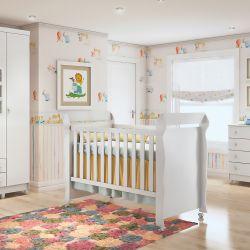 Quarto de Bebê Luxo com Berço/Cômoda/Guarda-Roupa de 4 Portas