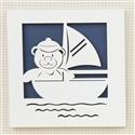Quadro Decorativo Barco com Ursinho Baby Boy Navy Marinho