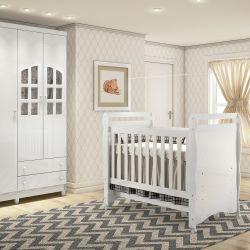 Quarto de Bebê Luxo com Berço/Cômoda/Guarda-Roupa de 3 Portas