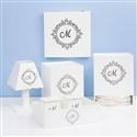 Kit Higiene com Quadro Led Marselle Marinho com Inicial do Nome Personalizada