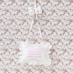 Porta Maternidade Oração Santo Anjo Glamour Floral Rosê
