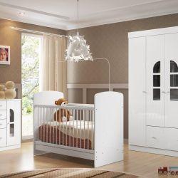 Quarto de Bebê Bolinha de Sabão Branco com Berço/Cômoda/Guarda-Roupa de 4 Portas