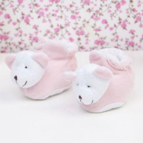 Pantufas em Plush Ursinha Rosa Bebê