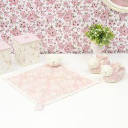 Conjunto Naninha e Pantufas Ursinha Rosê Floral