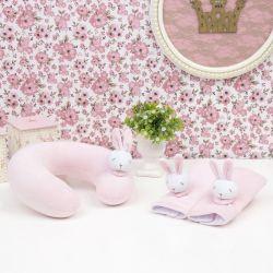 Kit Acessórios Cadeirinha Carro em Plush Coelhinha Rosa Bebê