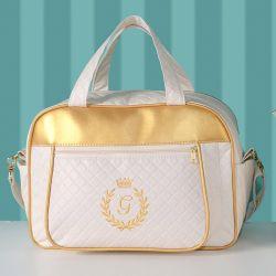 Bolsa Maternidade Milão Inicial do Nome Personalizada Marfim e Dourado 38cm
