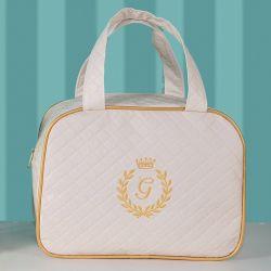 Frasqueira Maternidade Milão Inicial do Nome Personalizada Marfim e Dourado 30cm