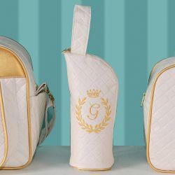 Porta Mamadeira Maternidade Milão Inicial do Nome Personalizada Marfim e Dourado