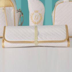 Trocador de Fraldas Portátil Milão Marfim e Dourado