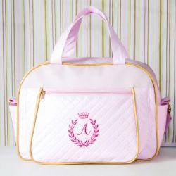Bolsa Maternidade Milão Inicial do Nome Personalizada Rosa e Dourado 38cm