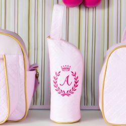 Porta Mamadeira Maternidade Milão Inicial do Nome Personalizada Rosa e Dourado