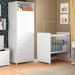 Quarto de Bebê Cookie com Mini Berço/Guarda-Roupa de 2 Portas