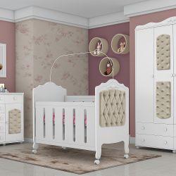 Quarto de Bebê Provence Acetinado com Capitonê Cáqui com Berço/Cômoda/Guarda-Roupa de 4 portas