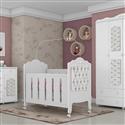 Quarto para Bebê Provence Acetinado com Capitonê Branco com Berço/Cômoda/Guarda Roupas de 4 portas