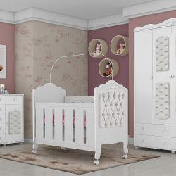 Quarto de Bebê Provence Acetinado com Capitonê Branco com Berço/Cômoda/Guarda-Roupa de 4 portas