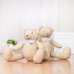 Ursos Bege Poá com Laço Listrado 34cm e 40cm
